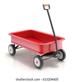 Vintage child's toy mini wagon on white background - 3D illustration