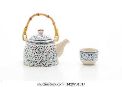 vintage Chinese tea set isolated on white background