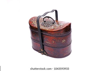Vintage Chinese Tiffin carrier , Beautiful Chinese Traditional food carriers isolated on white background.