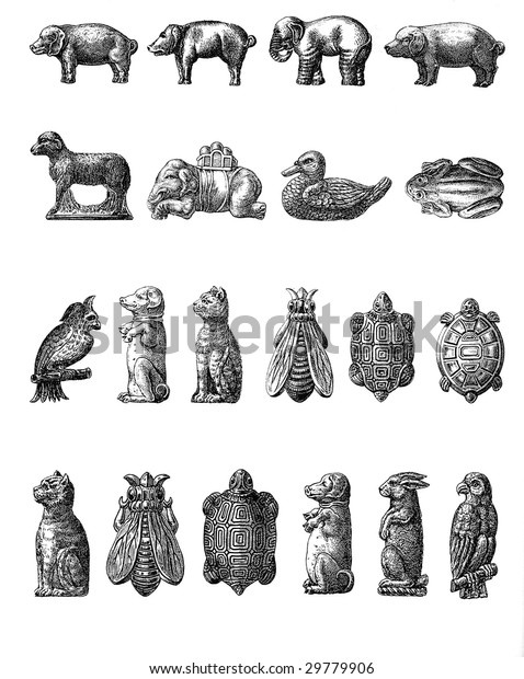 Vintage Chocolate Mold Sketches Domestic Wild Stock Photo