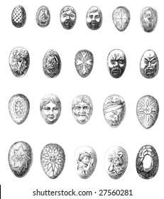 Vintage Chocolate Mold Sketches- Faces