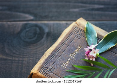 Vintage Christian Leather Bible closeup with daphne flowers and palm leaves on Wood Board Background with room or space for copy, text or your words. Horizontal flatlay with above view
