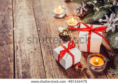 Vintage Christmas background with Christmas Gifts. Holidays background & Vintage Christmas Background Christmas Gifts Holidays Stock Photo ...