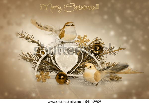 Vintage Christmas decoration: fir sprig, ball and bird