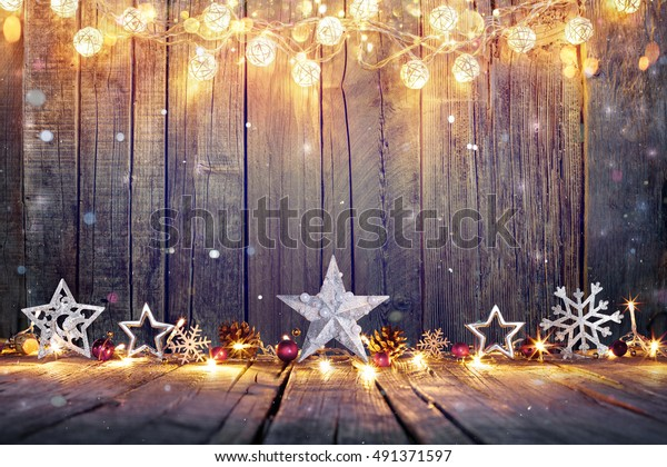 Christmas Runway Lights.Vintage Christmas Decoration Stars Lights On Stock Photo