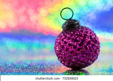 Vintage christmas decoration for christmas tree on glitter rainbow background
