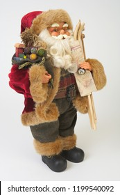 Vintage Christmas dwarf with map and skis