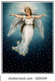 A vintage Christmas illustration of a angel flying in a starry night sky (circa 1890)