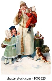 A vintage Christmas illustration of St. Nicholas giving gifts to children (circa 1890)