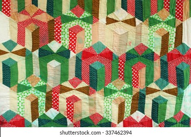 Vintage Christmas quilt, patchwork presents tied with a bow, hand-pieced and hand-quilted