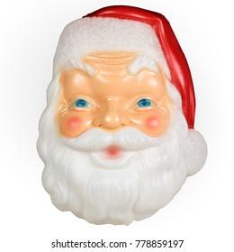 Vintage Christmas Santa Head Blow Mold Plastic