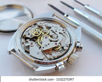 vintage chronograph watch mechanism detail