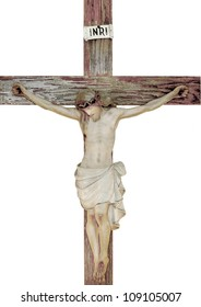 Vintage church statue of jesus on the cross
