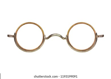Vintage circular eyeglasses isolated on a white background