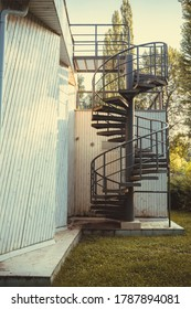 Vintage circular staircase on the house