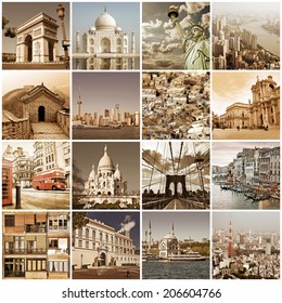 Vintage cities of the world collage