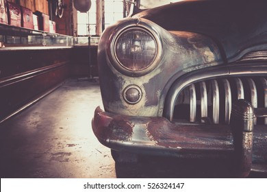 Vintage classic car , abandoned car