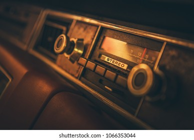Vintage Classic Car Radio in the Vehicle Dashboard. 80s Multimedia Technologies