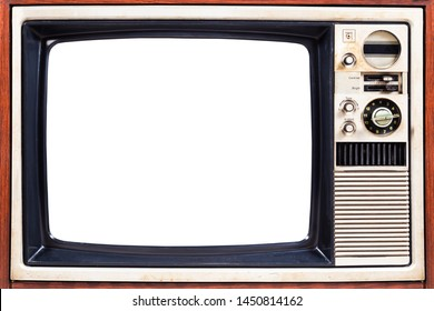 Vintage, classic, close up of old TV screen isolated on white background. Clipping path