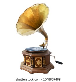 Vintage and classic gramophone isolate on white. clipping path for object, retro technology