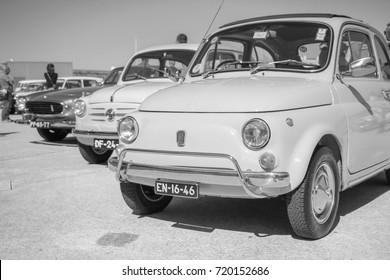 Vintage classic italian car Fiat 500 Fiat 600d retro vehicle parked in Cascais Portugal. September 2017
