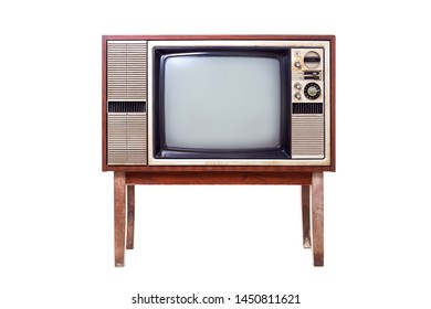 Vintage, classic, old wooden television case standing isolated on white background. Clipping path