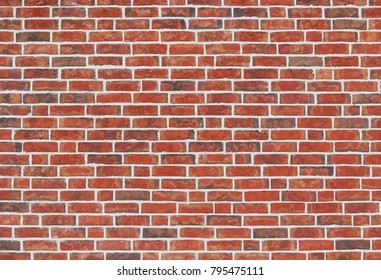 Vintage cleaned red brick wall. Empty background of horizontal brickwork. Rough surface of masonry texture.