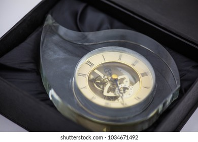 Vintage clock with glass. White background.
