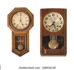 Vintage clock isolated on white.