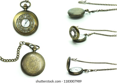 Vintage Clock Locket Necklace isolated over white background