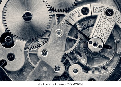vintage clock machinery close up, retro style photo