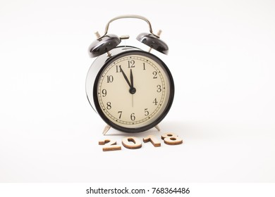 Vintage clock at midnight to new year 2018