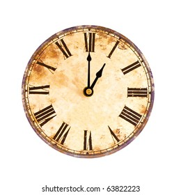 vintage clock on white background