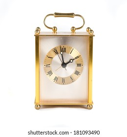 Vintage clock over isolated white background