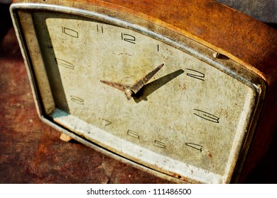 Vintage clock/ Time concept - vintage clock face with grunge texture