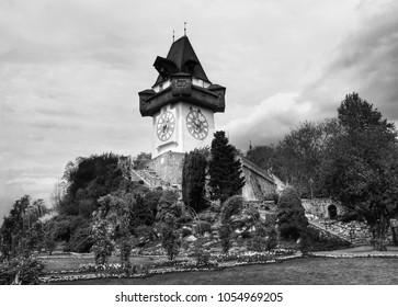 Vintage Clock Tower in Graz, Austria (Black-and-White version)