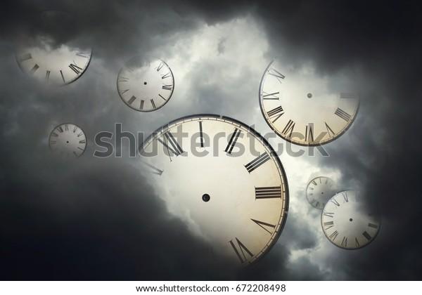 Vintage Clocks Floating Away Cloudy Skyfree Stock Photo