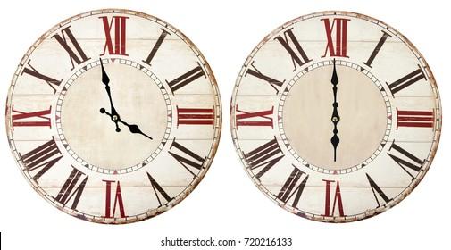 Vintage clocks on white