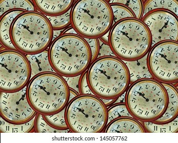 Vintage clocks pattern given the 3 15 pm in warm color scheme.
