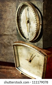 Vintage clocks/ Time concept - vintage clock faces with grunge texture