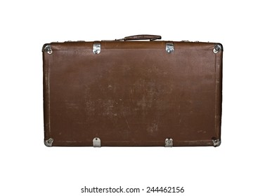 Vintage closed brown leather suitcase, isolated on white