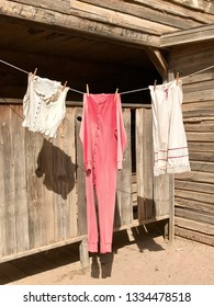 Vintage clothing drying on a clothesline
