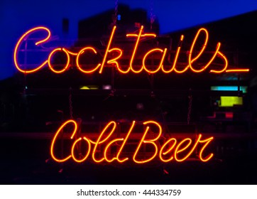 vintage cocktails and cold beer neon sign