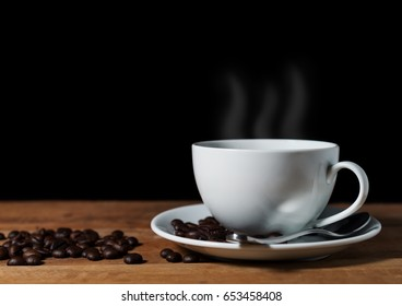 Vintage coffee bean on brown wooden table in still life and dark filter color tone on black background
