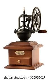 Vintage coffee grinder isolated on white background, studio shot