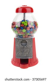 Vintage coin operated candy machine on a white background