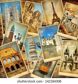 vintage collage - European travel