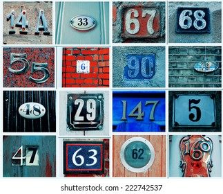 Vintage Collage of House numbers