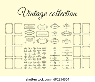 Vintage collection. Frames, calligraphic borders, dividers, vignettes and flourishes icons