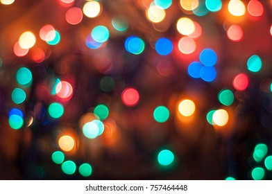 Vintage Color Bokeh Background. Defocused Abstract Soft Lights. Blurred Light Design Element. Festive Unfocused Backdrop. Elegant Toned Retro Image. Colorful Bright Circles